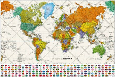 Contemporary World Wall Map with Flags by Globe Turner